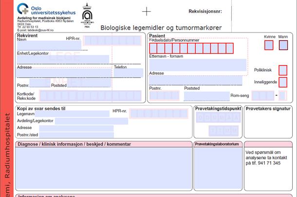 Bildeutsnitt av rekvisisjon for biologiske legemidler og tumormarkører
