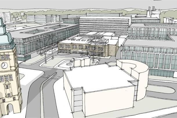Skisse som viser et nytt sykehus på dagens Ullevål-tomt