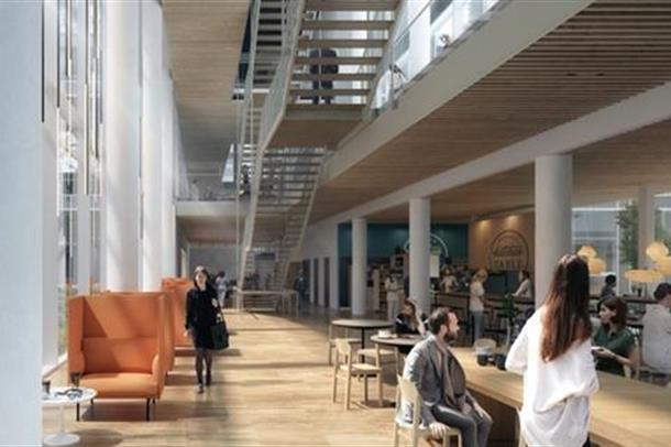 Illustrasjon av Vestilbyle i Nye Radiumhospitalet: Henning Larsen Architects, AART Architects, Momentum Arkitekter