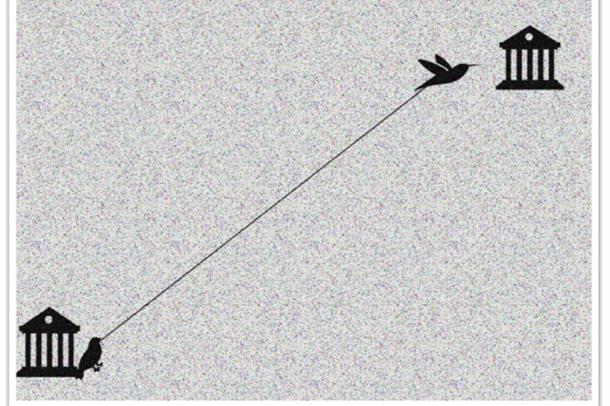 Illustrasjon av fugleforelder som holder igjen fuglebarn som flyr ut av redet