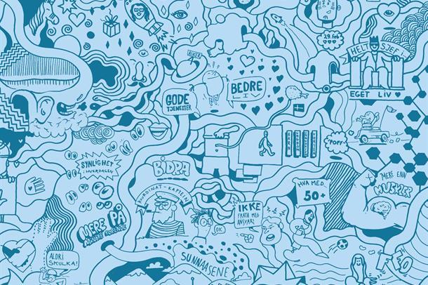 tegning i blått